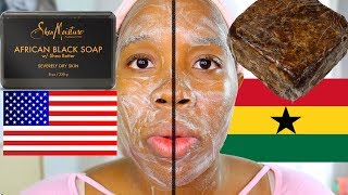 I tried AFRICAN BLACK SOAP! Raw African BLACK Soap vs African BLACK Soap!  FAKE AFRICAN BLACK SOAP?
