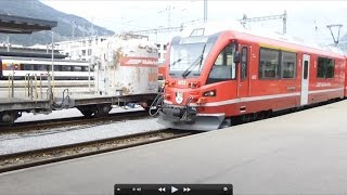 preview picture of video 'Swiss Trains: Chur, Switching the Arosa mixed, 19Sep14'