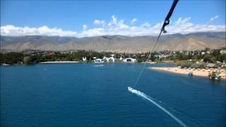 preview picture of video '[FHD] Parasailing above the Ysyk-kol (Issyk-kul), Kyrgyzstan'