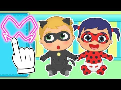 🐞 BEBÉS ALEX Y LILY 🐞 Se disfrazan de la superhéroe mariquita y el supergato   Dibujos animados