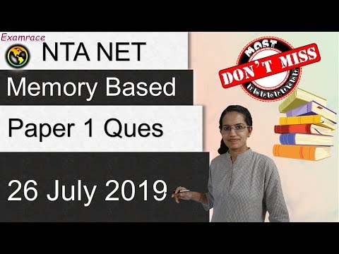 NTA NET Paper 1 Analysis (26th June 2019) - Topics & Questions| Most Important! Don't Miss!