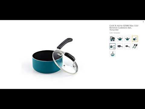Cook N Home 02588 Stay Cool Nonstick Cookware Set, Turquoise