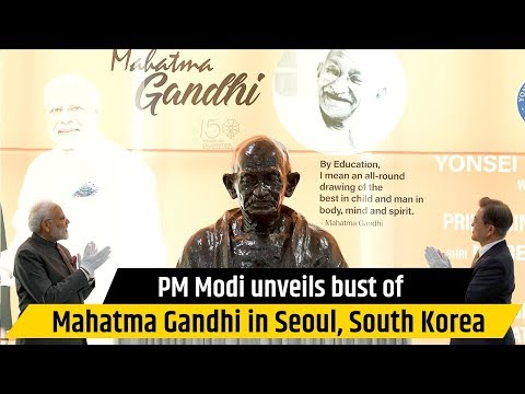 PM Modi unveils bust of Mahatma Gandhi in Seoul, South Korea