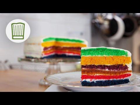 Backen mit Lebensmittelfarbe - so gelingt der perfekte Regenbogenkuchen #chefkoch