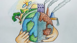 World Environment Day Easy Drawing | How To Draw Save Environment Save Earth Poster