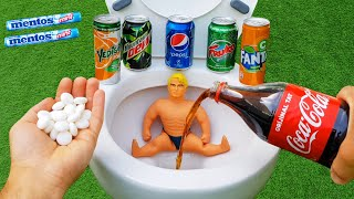Experiment !! Stretch Armstrong VS Cola, Mtn Dew, Fruko, Pepsi, Fanta, Yedigün and Mentos in Toilet