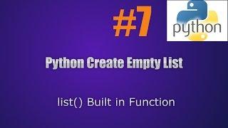 Python Create Empty List || Python Lists tutorial with sample codes #7