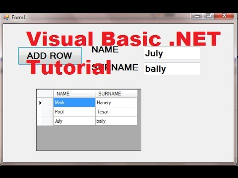 Visual Basic .NET Tutorial 44 – How To Use DataGridView (Adding rows)