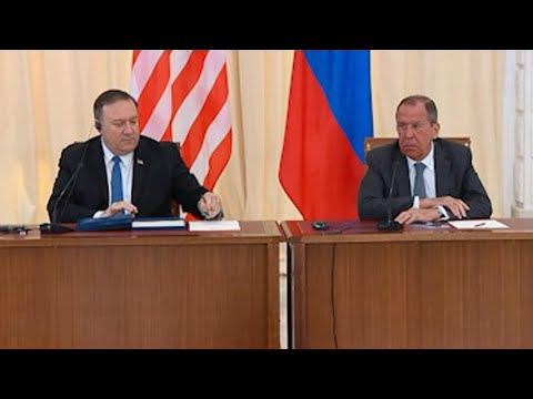 "U.S. Secretary of State Mike Pompeo said Tuesday at a news conference after talks with Russia's foreign minister that if the Russians engage in interference in the 2020 election, ""it would put our relationship in an even worse place than it has been."" (May 14)"