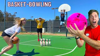 BASKETBALL BOWLING! *Long Distance TRICKSHOT Challenge*