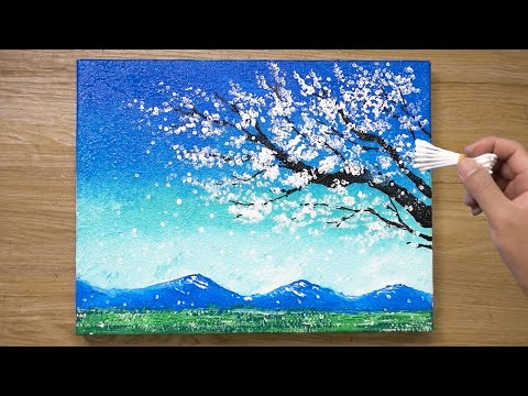 painting a white cherry blossom tree technqiue by jay lee painting