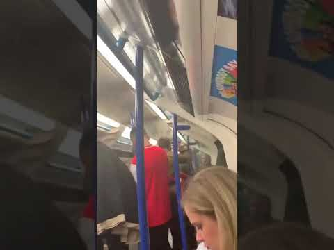 Arsenal Fans Fight On Piccadilly Line (tube / Train) After Chelsea UEFA League Cup Final Loss 2019