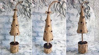 Новогодняя елка из джута. Новогодние поделки