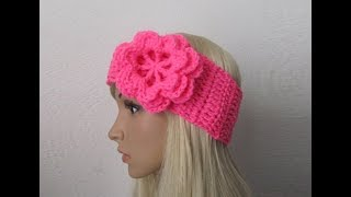 How To Crochet Earwarmer/Headband With A Flower Pattern #28│by ThePatternFamily