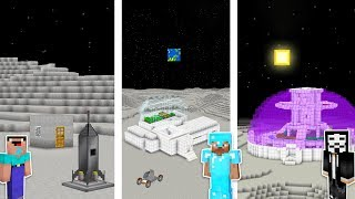 Minecraft NOOB vs PRO vs HACKER : MOON BASE CHALLENGE in minecraft / Animation