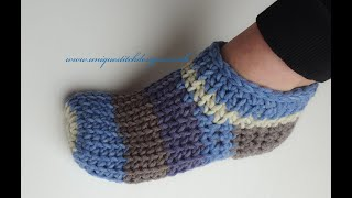 CROCHET SLIPPERS /FAST AND EASY KNIT STITCH