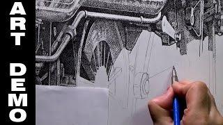 Steam Train Ink Stippling Timelapse Demo Part 1