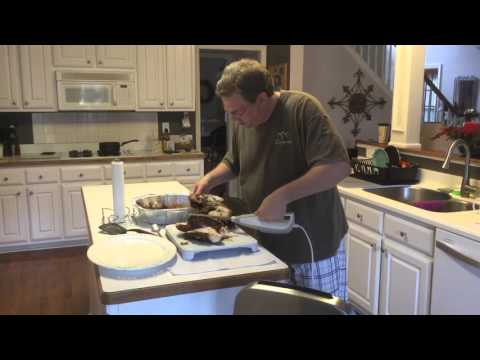 Carving a turkey with electric knife