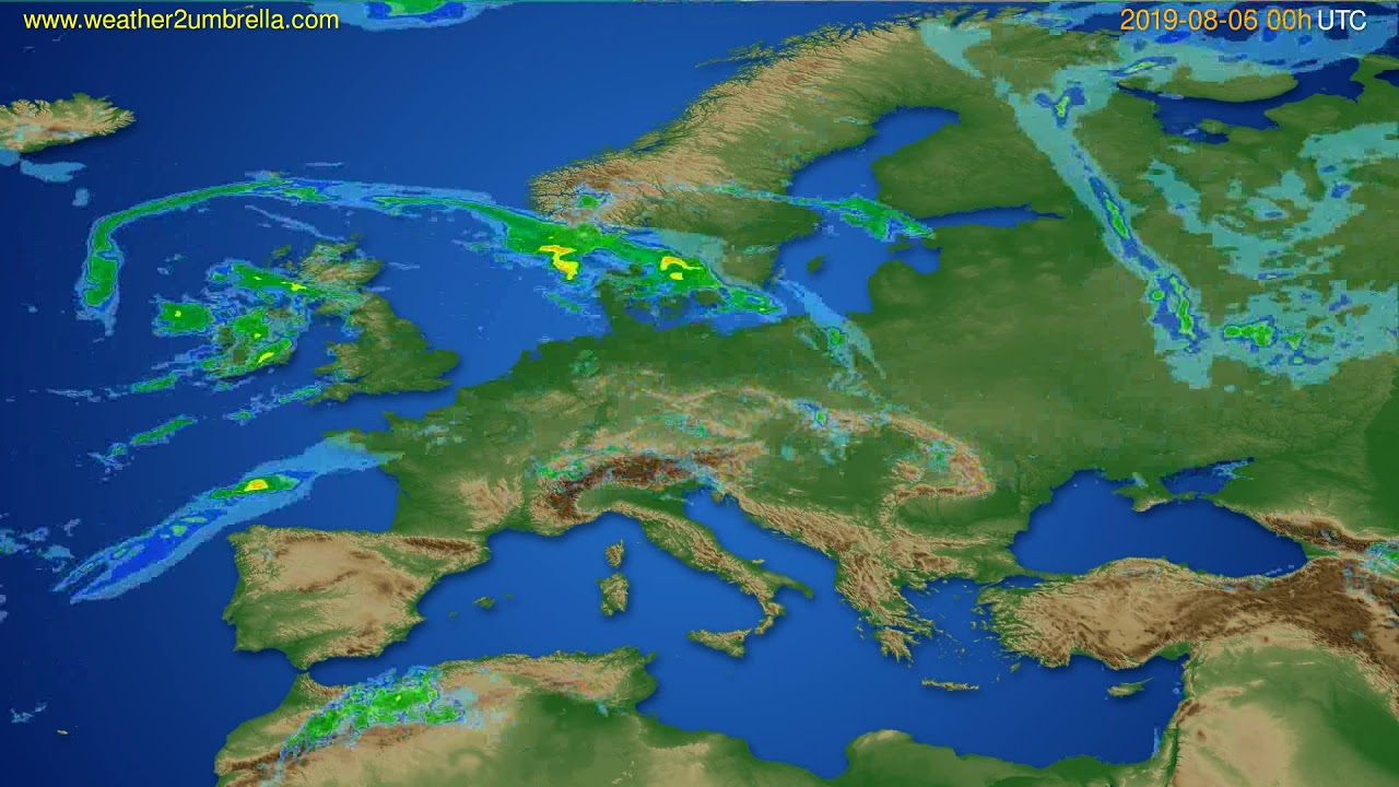 Radar forecast Europe // modelrun: 12h UTC 2019-08-05