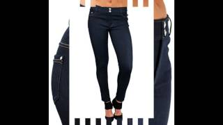 Enimay Womens Jean Look Jeggings Tights Spandex Leggings Yoga Pants Navy 2 Jewel M L