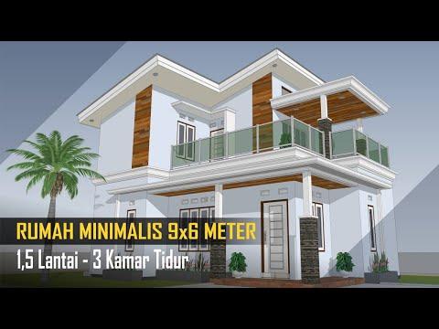 DESAIN RUMAH 9x6 meter 1,5 Lantai - 3 Kamar