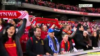 """95,000 Liverpool fans singing """"You'll Never Walk Alone""""."""