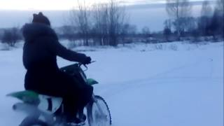 hard winter drift from girl on kawasaki kx 85 with falling