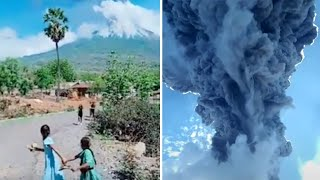 video: Watch: Thousands flee as Indonesian volcano erupts, sending gas and ash more than two miles into sky