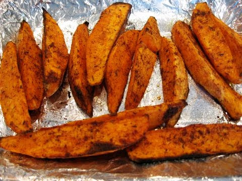 Video Easy Bodybuilding Side Dish:  Healthy Oven-Baked Sweet Potato Wedges