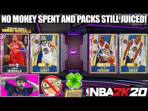 THE LUCKIEST AND GREATEST NO MONEY SPENT PACK OPENING WITH JUICED PACKS IN NBA 2K20 MYTEAM