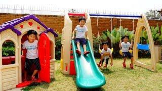 [1시간] 예준이의 전동 자동차 장난감 어린이 놀이터 만들기 타요버스 숨바꼭질 색깔놀이 Kids Power Wheels Car Toy Video for Kids