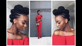 Easy Natural Hairstyle + Outfit   Flat Twist + Puff On 4c Natural Hair