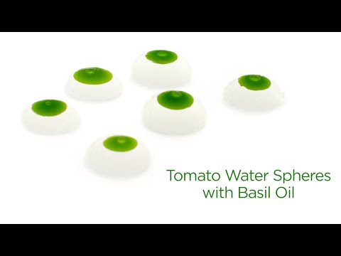 Tomato Water Spheres with Basil Oil (Molecular Gastronomy Spherification)