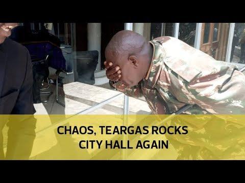Chaos, teargas rocks City Hall again