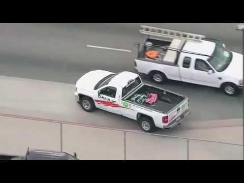 Los Angeles police chase involves stolen U-Haul vehicle - смотреть