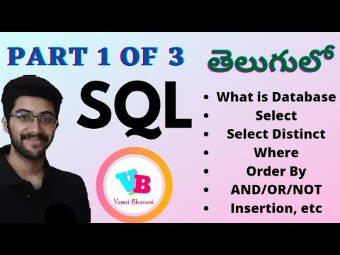 SQL in telugu Part 1 | Select Distinct Where Order By AND OR NOT Insertion Database | Vamsi Bhavani