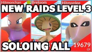 Hitmonlee  - (Pokémon) - NEW LEVEL 3 RAIDS IN POKEMON GO | SOLOING HITMONCHAN HITMONLEE & BRELOOM RAIDS