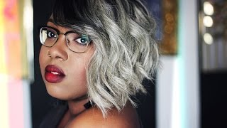 Fifty Shades Of Grey || Black And Grey Asymmetric Bob Quickweave (Re-upload)