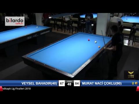 VEYSEL BAHADIR(40) & MURAT NACİ ÇOKLU(90) Bilardo Maçı - PLATINUM HANDİKAPLI LİGİ - 2018-1. Tur