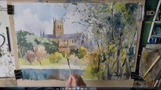 How to paint buildings in Watercolour Worcester Cathedral