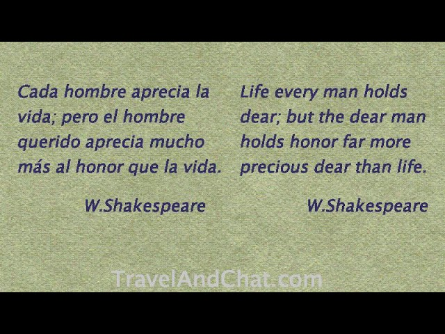 W Shakespeare.   Quote in Spanish.   Life every man holds dear; but the dear man holds honor far...