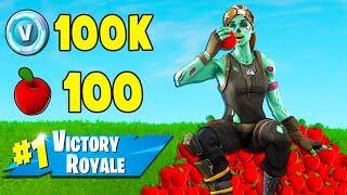 1 Game + 1 Win + 100 Apples!  -  100k V-BUCKS CHALLENGE
