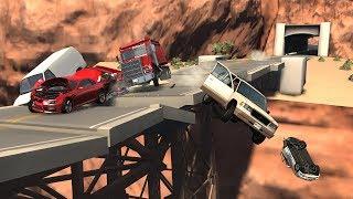 Collapsing Bridge Pileup Crashes 2 | BeamNG.drive