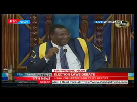 Senator James Orengo gives a passionate speech during the special electoral laws' senate sitting