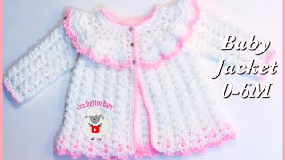 How To Crochet Easy Baby Sweater Cardigan Jacket For Easter  | Girls 0-3M By Crochet For Baby #182