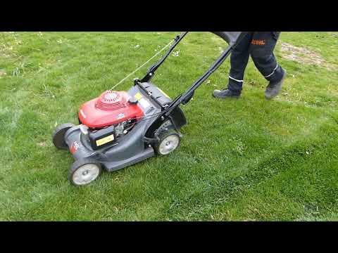 Den Rasen mulchen mit dem eingebauten Honda Mulch-Kit bei dem Honda Benzin Rasenmäher HRX 426