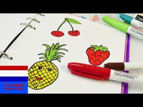 tekeningen maken 🍒 schattig fruit 🍓 vruchten tekenen 🍍 aardbei, kers & ananas | zomer