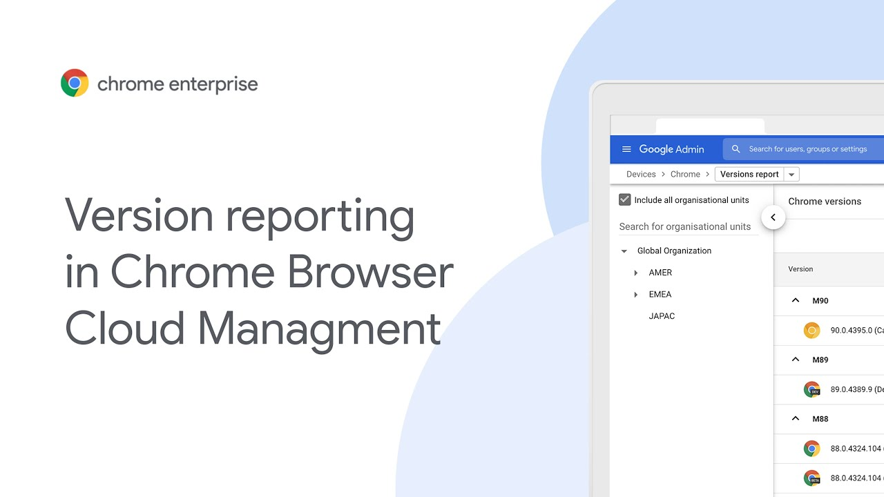 Version report allows IT admins to easily see all the Chrome versions  in their deployment. This supports compliance and remediation efforts and helps IT teams have more visibility than ever before into their Chrome and Chrome OS deployments. For more information on Chrome Browser Cloud Management