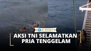 Detik-detik Aksi Heroik Anggota TNI AD Selamatkan Pria yang Terjatuh di Tengah Laut