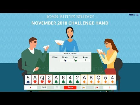 November 2018 Challenge Hand – Learn To Play Bridge With Joan Butts